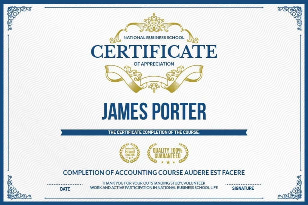 Certificate of appreciation template — Modelo de projeto