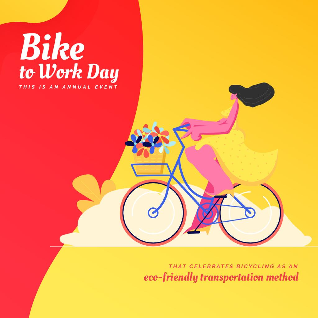 Bike to Work Day with Girl riding bicycle with flowers — Modelo de projeto