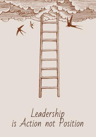 Leadership is action not position Citation Poster Modelo de Design