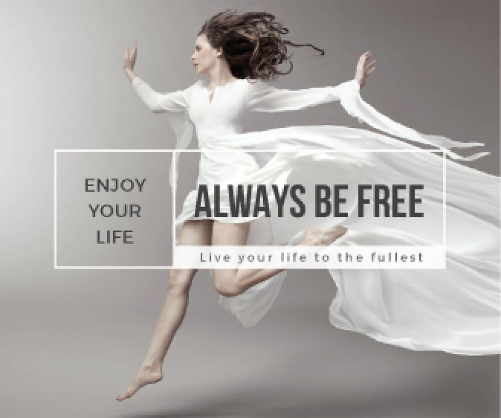 beautiful young woman in white dress and inspirational quote  — ein Design erstellen