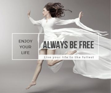 Inspiration Quote Woman Dancer Jumping | Large Rectangle Template