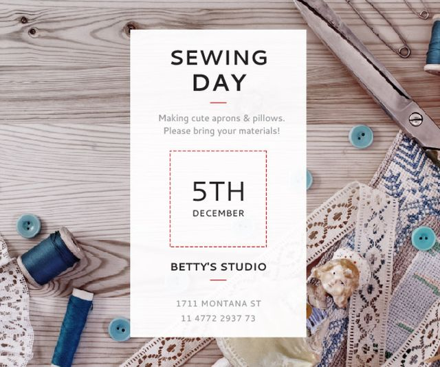 Sewing day event  Medium Rectangle Modelo de Design