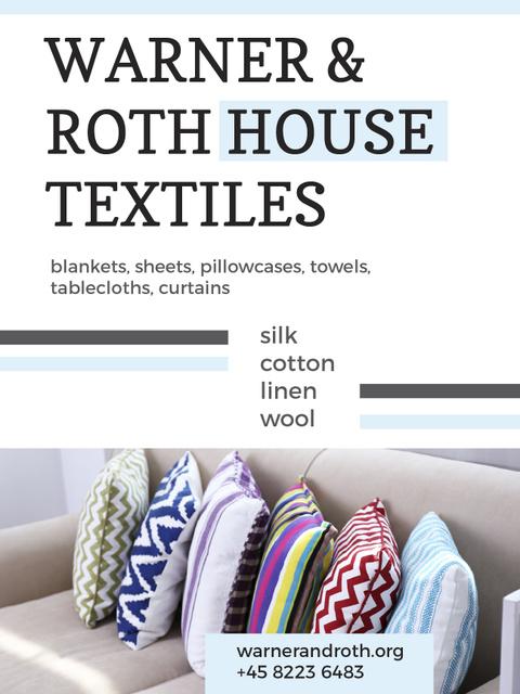 Plantilla de diseño de Home Textiles Ad Pillows on Sofa Poster US