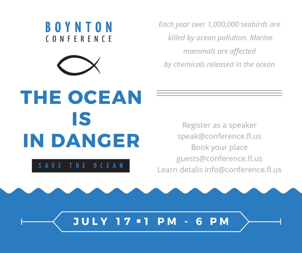 Ecology Conference Invitation with blue Sea Waves — Crear un diseño