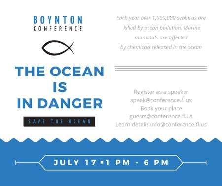Plantilla de diseño de Ecology Conference Invitation with blue Sea Waves Facebook