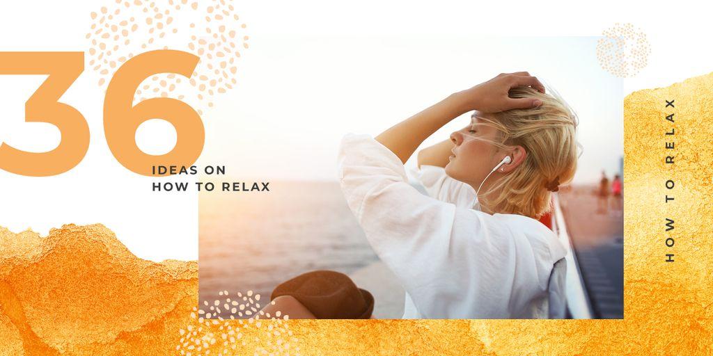 Woman resting at seacoast Image – шаблон для дизайна