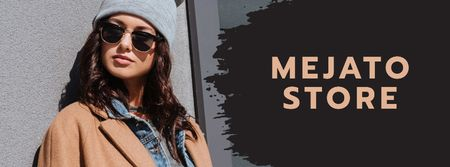 Fashion sale Stylish girl in Sunglasses Facebook cover Tasarım Şablonu