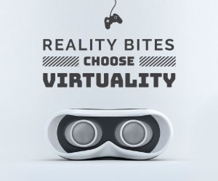 Virtual Reality Glasses in White Medium Rectangle Modelo de Design