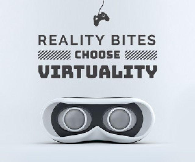 Plantilla de diseño de Virtual Reality Glasses in White Medium Rectangle