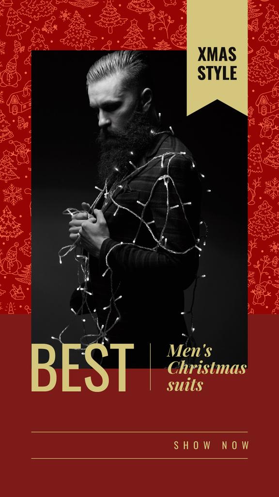 Bearded man wrapped in garland — Создать дизайн