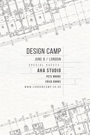 Plantilla de diseño de Design camp announcement on blueprint Tumblr