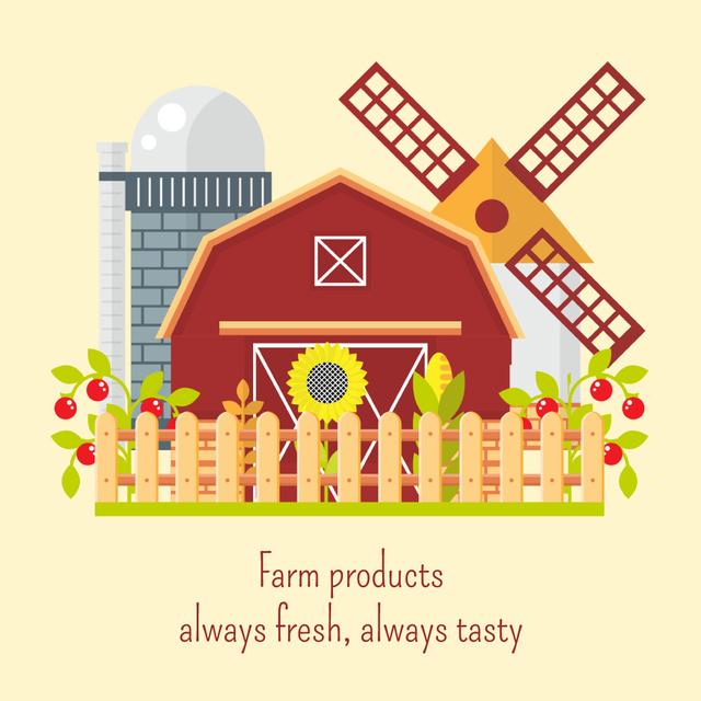 Village barn and windmill on Farm Animated Post Modelo de Design