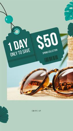 Template di design Sunglasses Sale Ad Stylish Vintage Glasses Instagram Story