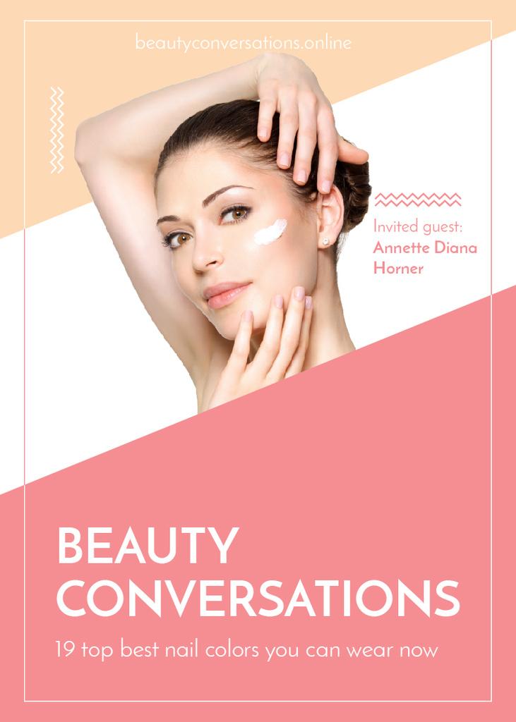 Ontwerpsjabloon van Invitation van Woman applying Cream at Beauty event