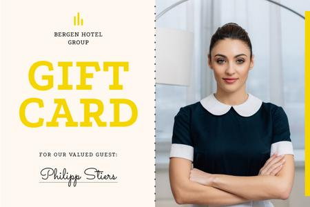 Template di design Hotel Card with Confident Professional Maid Gift Certificate