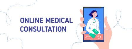 Ontwerpsjabloon van Facebook cover van Online Medical consultation