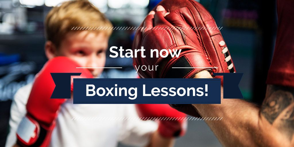 boxing lessons poster with little boy — Create a Design