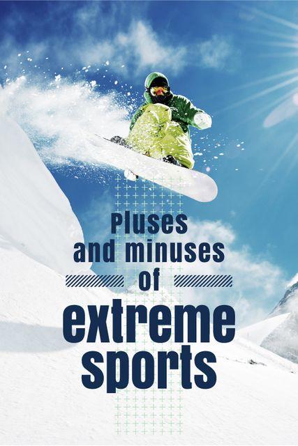 Ontwerpsjabloon van Tumblr van Man Riding Snowboard in Snowy Mountains