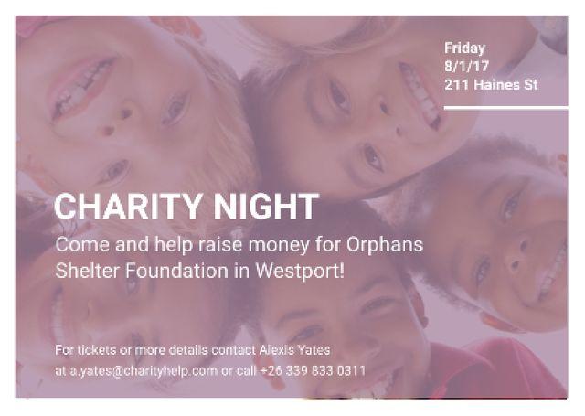 Ontwerpsjabloon van Postcard van Happy kids in circle on Charity Night