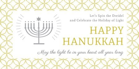 Invitation to Hanukkah celebration Twitterデザインテンプレート