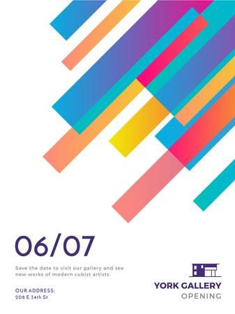 Template di design Gallery Opening announcement Colorful Lines Poster US