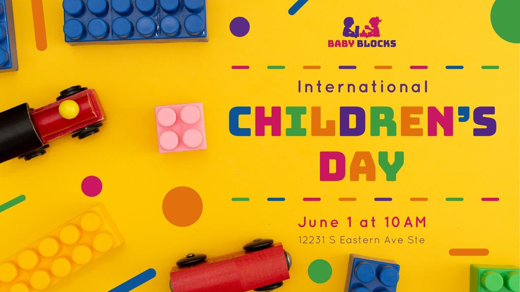 Children's Day Greeting Kids Toys and Constructor — Crear un diseño