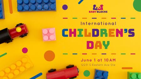Children's Day Greeting Kids Toys and Constructor FB event cover Modelo de Design