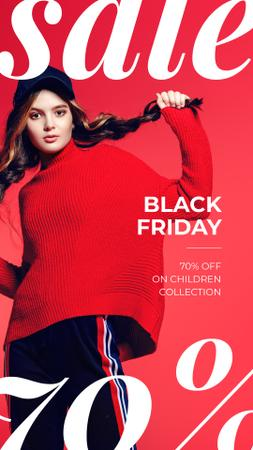 Black Friday Sale Woman Wearing Red Clothes Instagram Story Tasarım Şablonu