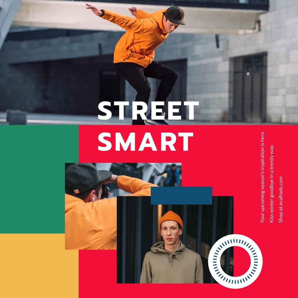 Fashion Ad with Young Skaters Instagram Design Template