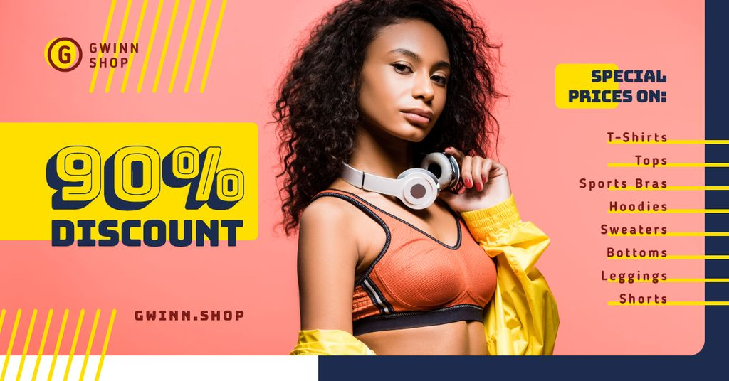 Fashion Ad Woman in Top and Headphones Facebook AD Design Template