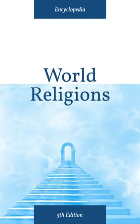 Religion Concept Stairs into Blue Sky Book Cover Design Template
