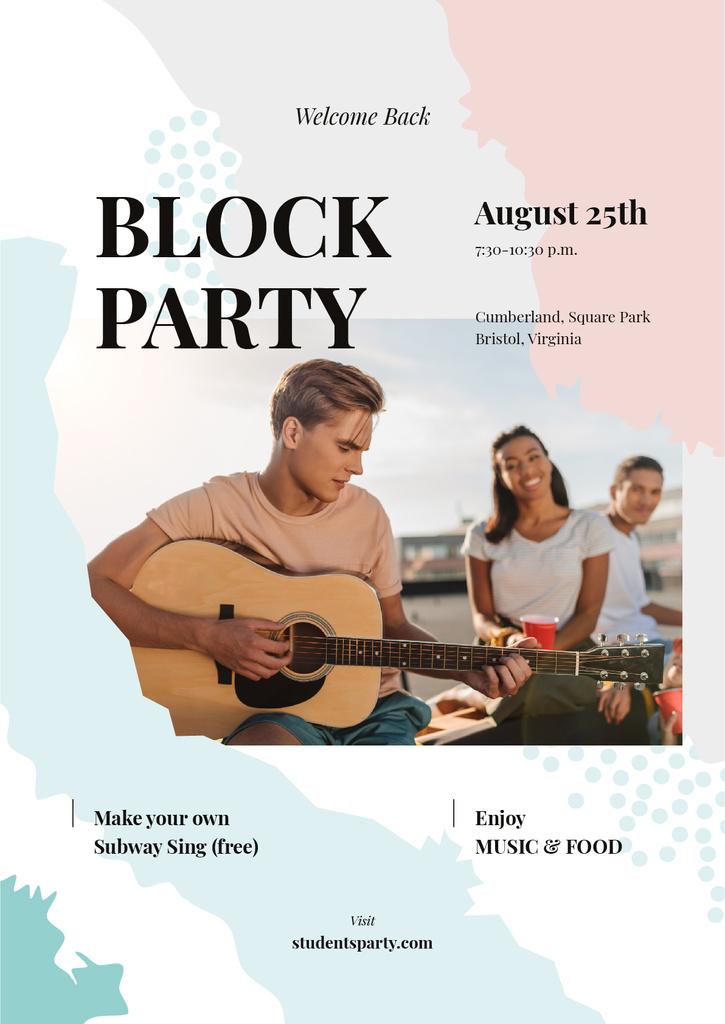 Friends at party with guitar — Crear un diseño