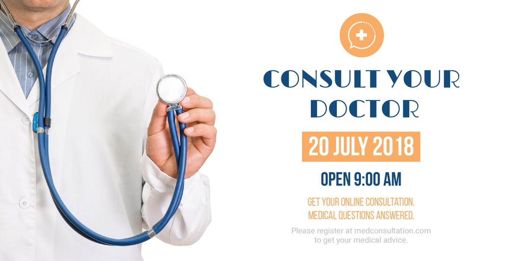 Consultation Announcement Doctor with Stethoscope | Twitter Post Template — Створити дизайн
