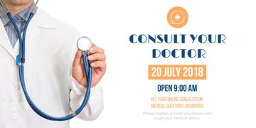 Consultation Announcement Doctor with Stethoscope | Twitter Post Template