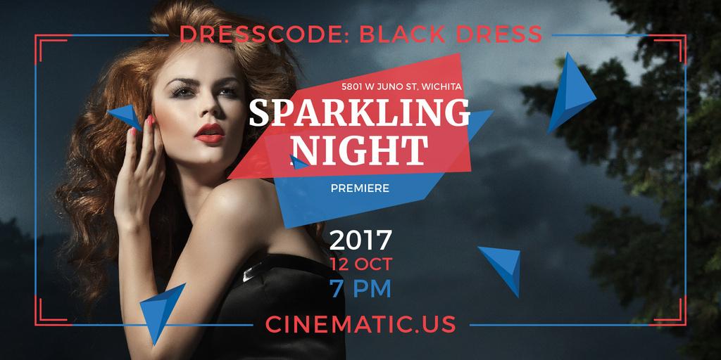 Night Party Invitation with Woman in Black Dress — Créer un visuel