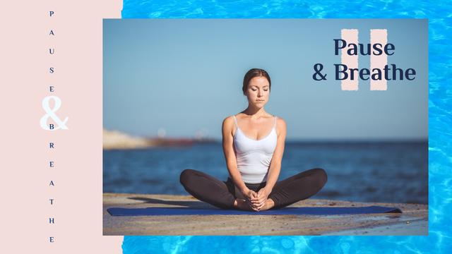 Ontwerpsjabloon van Full HD video van Woman Practicing Yoga at the Coast