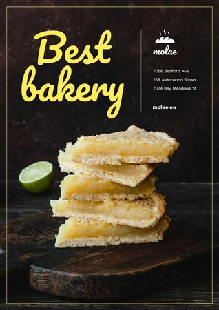 Bakery Ad with Sweet Pie with Lime Poster Modelo de Design