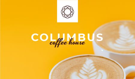 Coffee House promotion with cups of Cappuccino Business cardデザインテンプレート