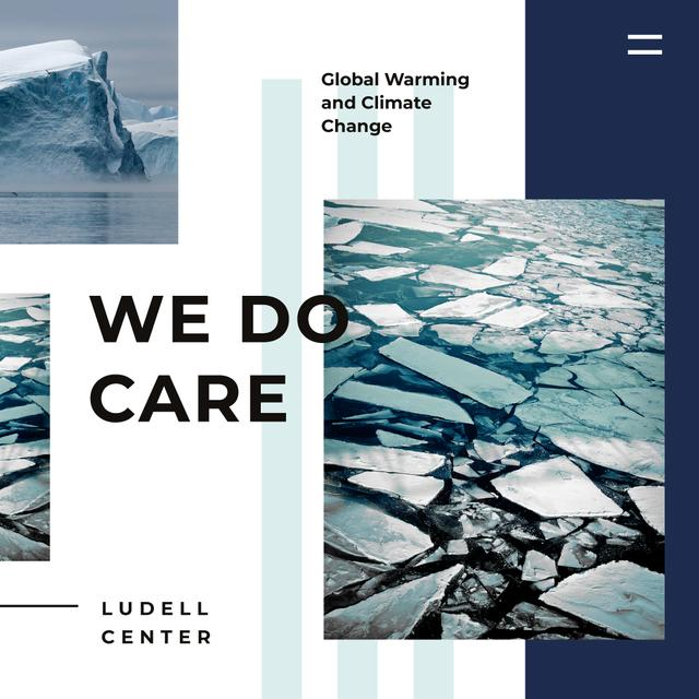 Climate Protection Ice Melting in Ocean Instagram AD – шаблон для дизайну