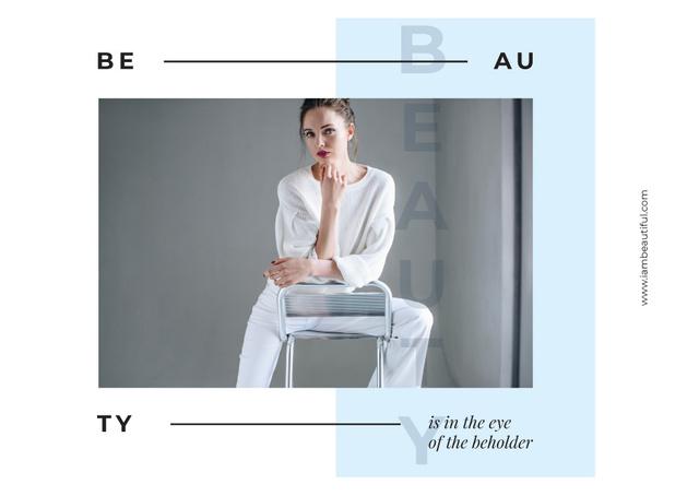 Young woman posing in white clothes Postcard Modelo de Design