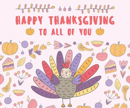 Happy thanksgiving greeting card Facebook Modelo de Design