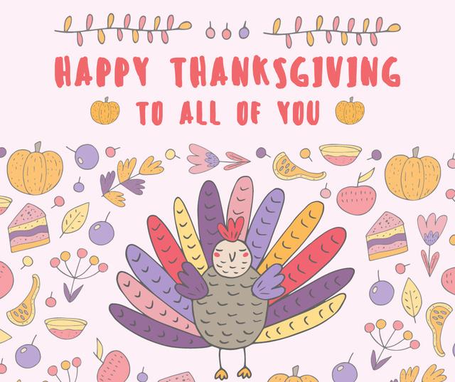 Happy thanksgiving greeting card Facebook Tasarım Şablonu