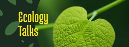Ecology Event Announcement Green Plant Leaf Facebook cover Tasarım Şablonu