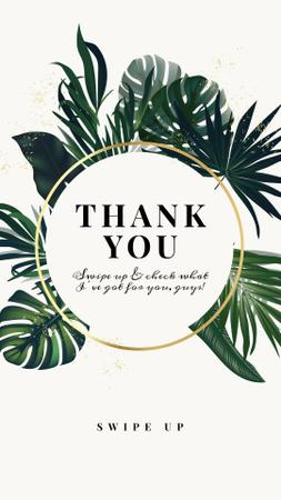 Thank You card with Tropical Leaves Instagram Storyデザインテンプレート