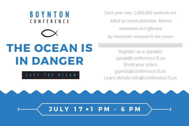 Ontwerpsjabloon van Gift Certificate van Boynton conference the ocean is in danger