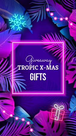 Tropical Christmas giveaway in Neon Instagram Story Tasarım Şablonu