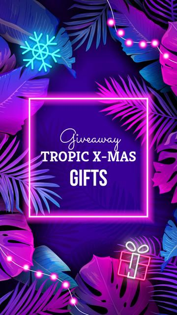 Tropical Christmas giveaway in Neon Instagram Story Modelo de Design