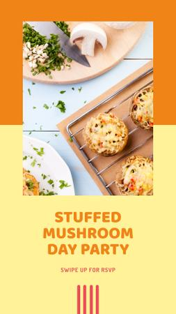 Stuffed Mushroom Day Celebration Instagram Story Modelo de Design