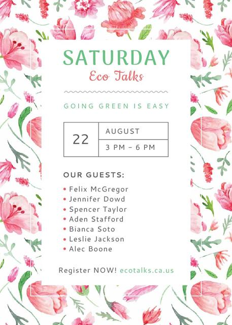 Ecological Event Watercolor Flowers Pattern Flayer Design Template