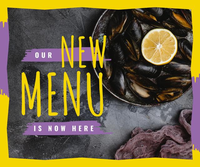 Plantilla de diseño de Mussels served with lemon Facebook